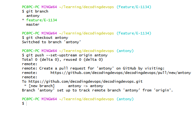 feature branch in git