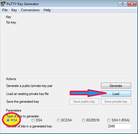 convert pem to ppk using puttygen windows