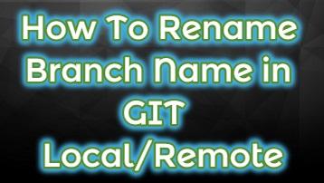 git rename a branch